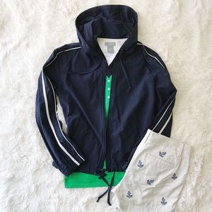 Bass navy zip front windbreaker with white stripes